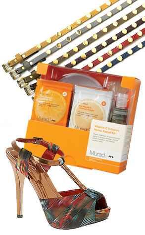 Brave Leather Heather Studded Belt, Aldo Printed T-Strap Platform, Murad Vitamin C Facial Kit