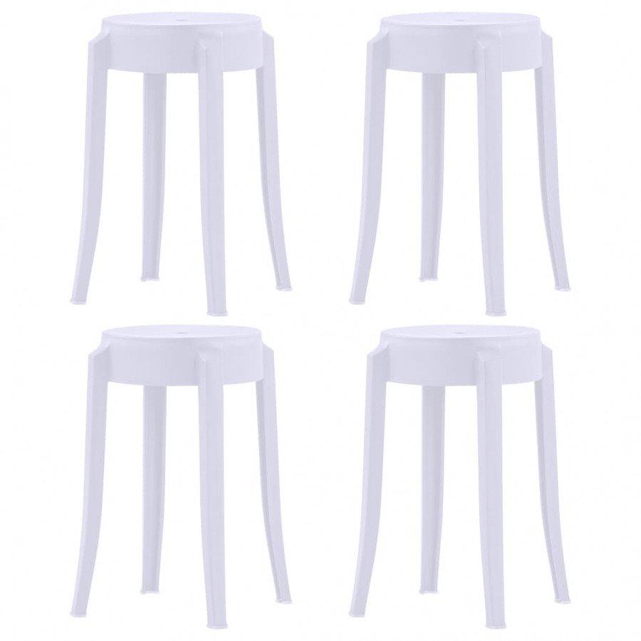 vidaxl fauteuils et chaises 4 pcs tabourets empilables blanc plastique