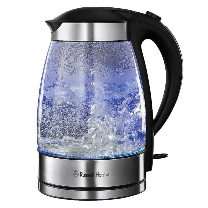 Blue Led Illuminating Light Electric Glass Kitchen Kettle