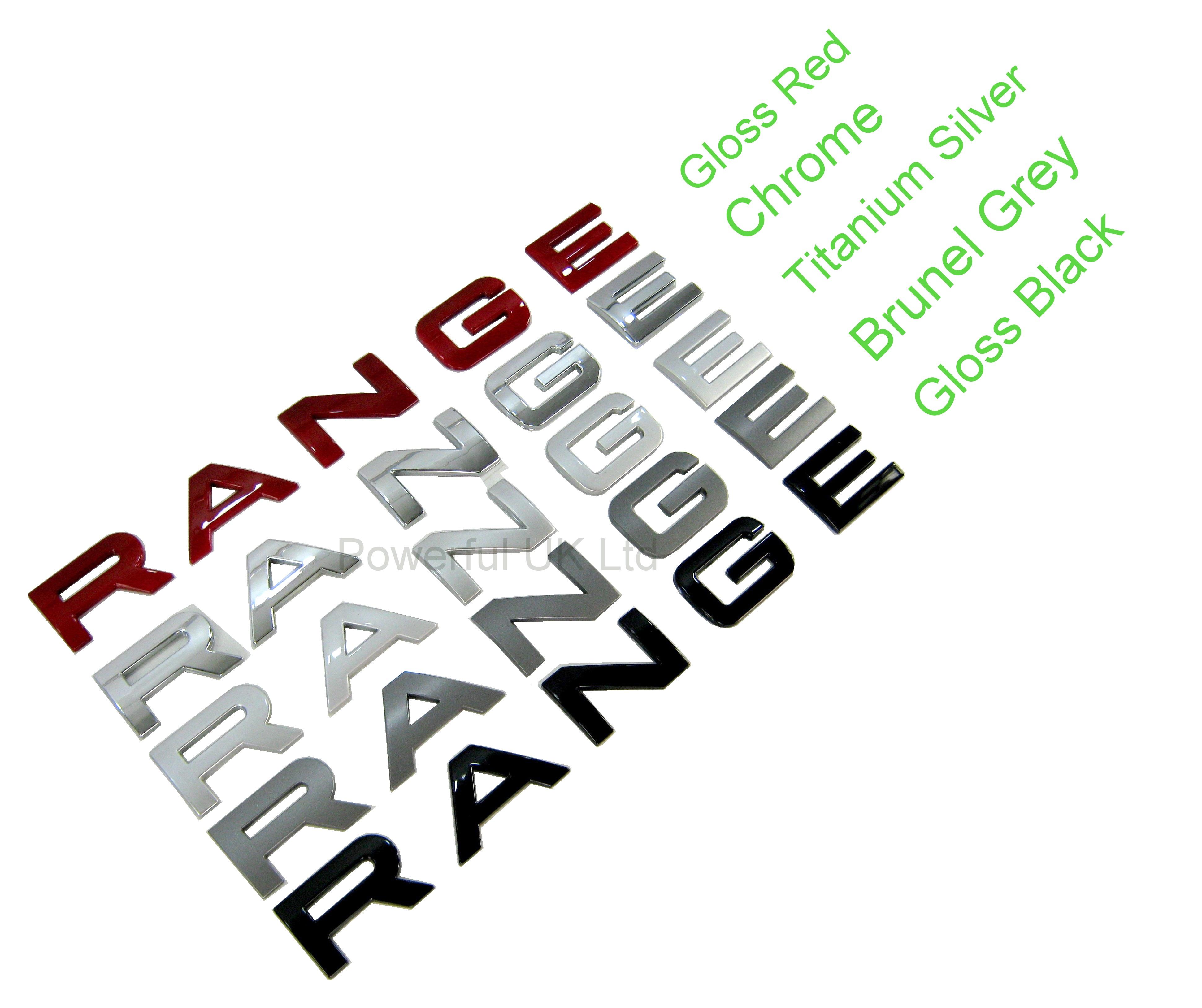Titanium Silver BONNET LETTERING Range Rover EVOQUE letters font