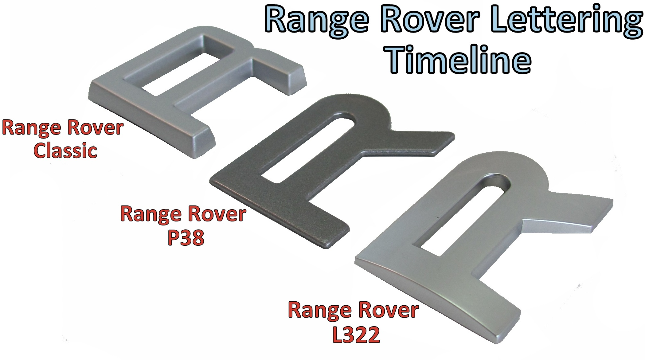 Silver Lettering Range Rover Classic bonnet tailgate font decal