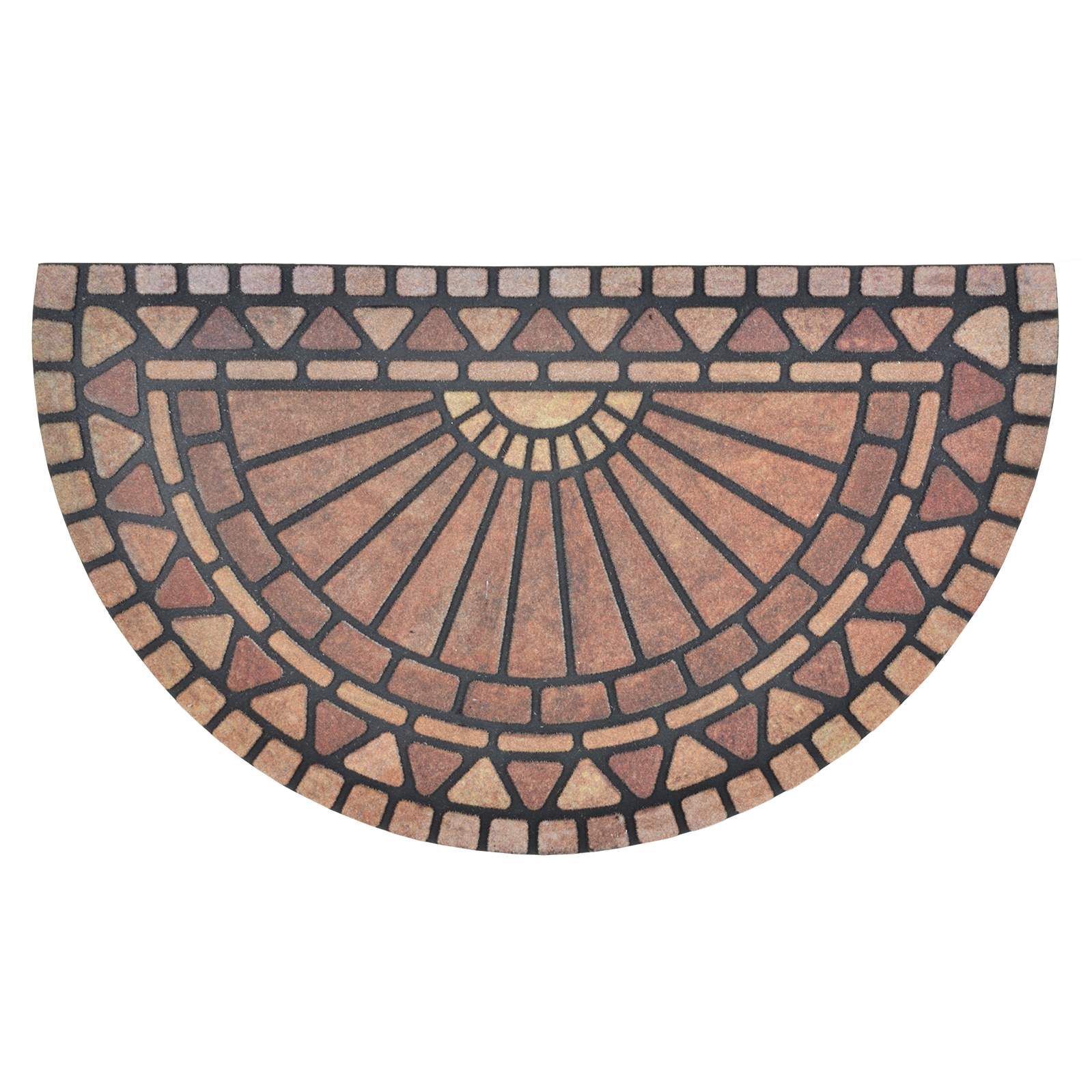 Half Moon Shape Modern Design Flocked Nylon Rubber Doormat