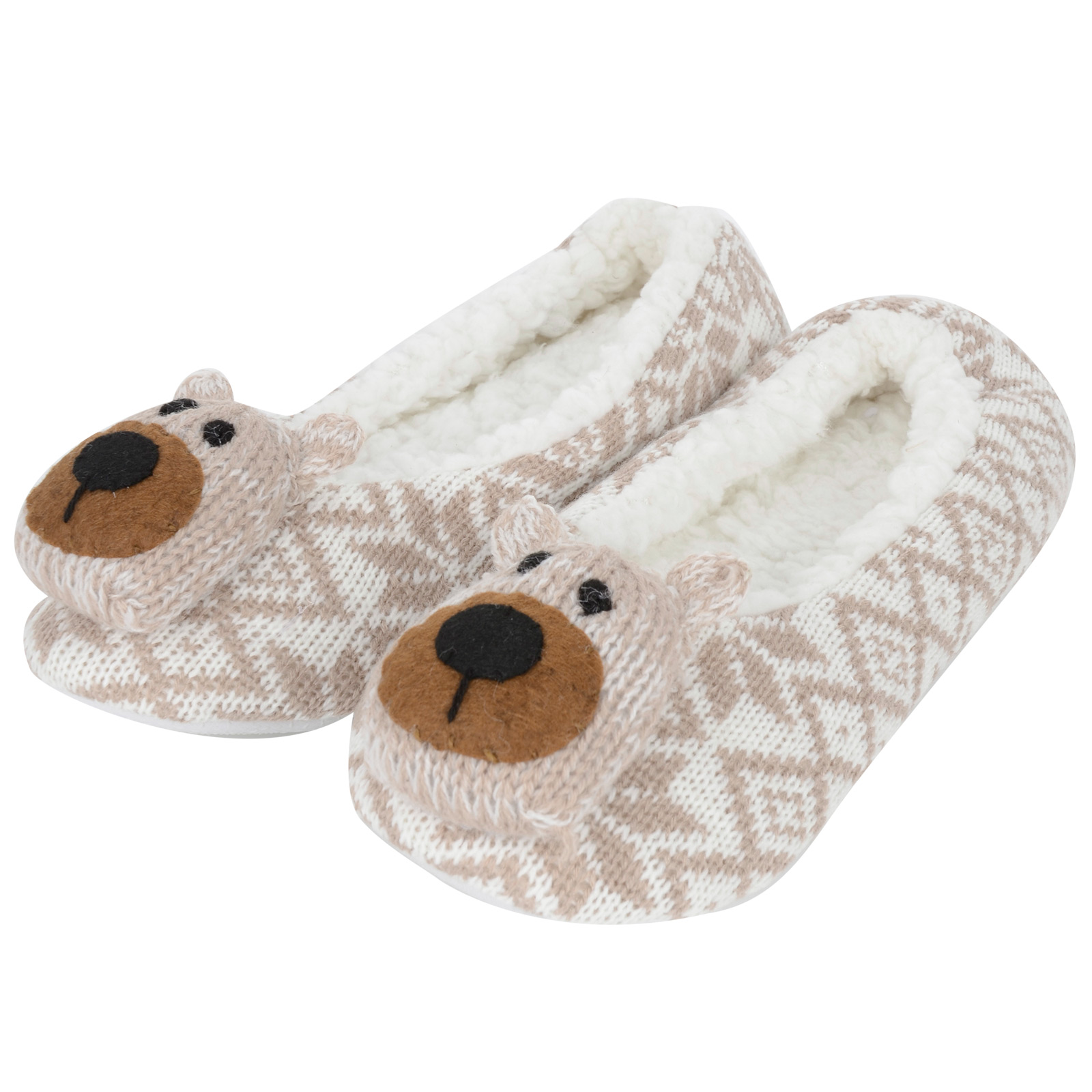 Ladies-Cosy-Knitted-Fair-Isle-Full-Slippers-With-Cute-3D-Bear-Face-On-The-Toe