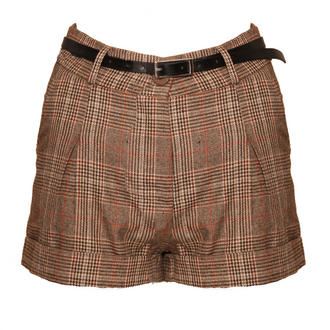 View Item Brown Checked Belted Shorts