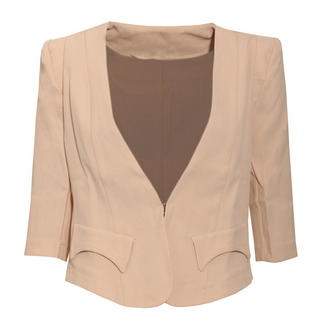 View Item Cream Tailored Cropped Blazer