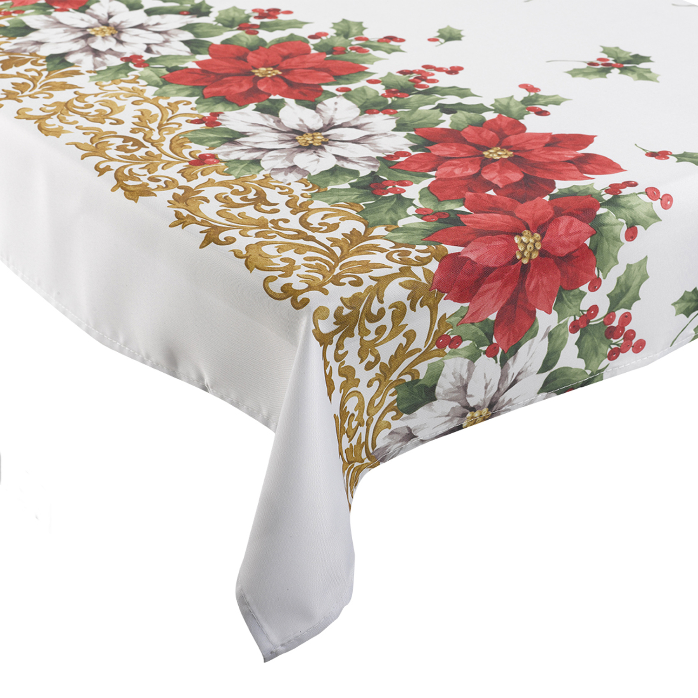 Festive Poinsettia Christmas Tablecloth 100 Polyester