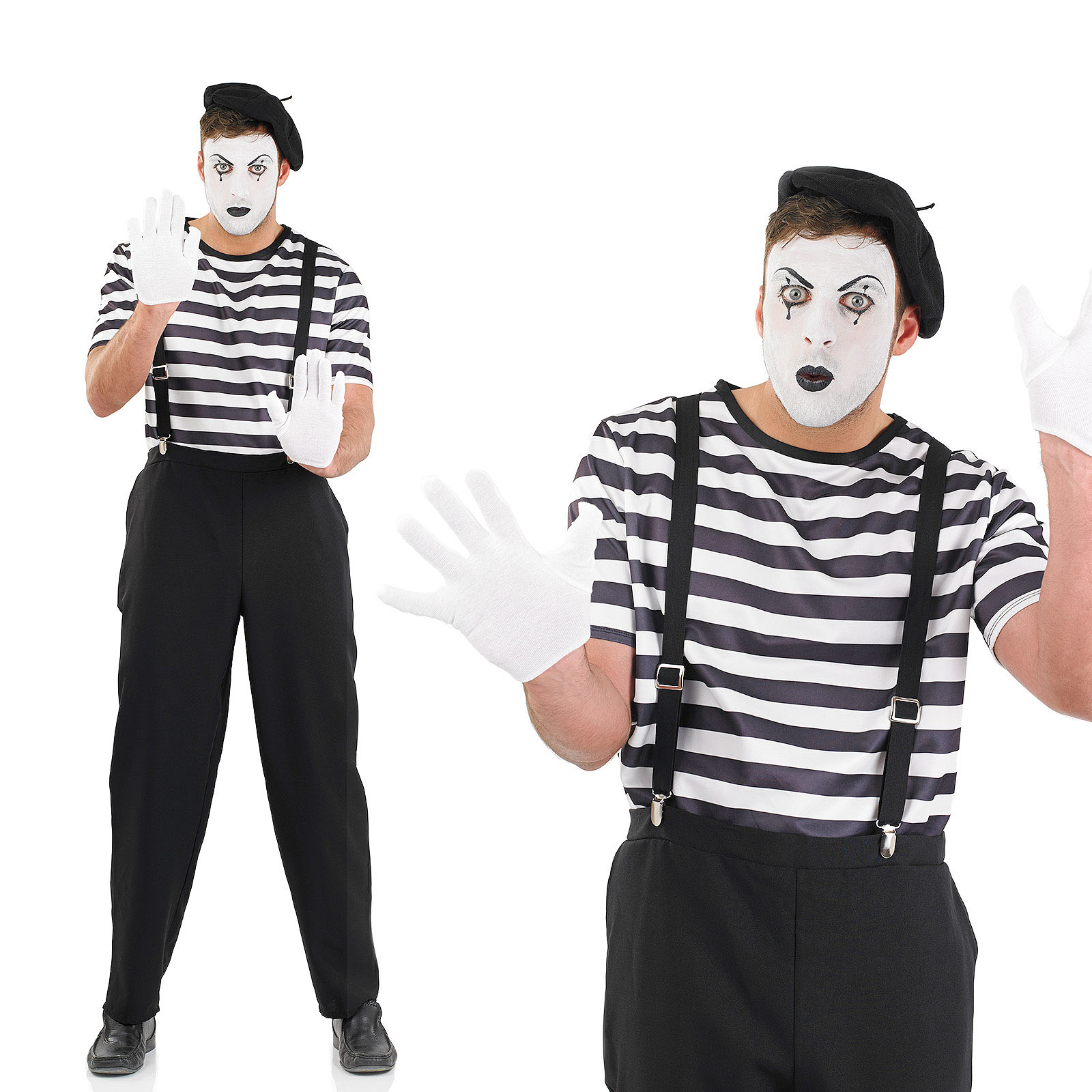 Mens French Male Mime Artist Fancy Dress Costume Halloween