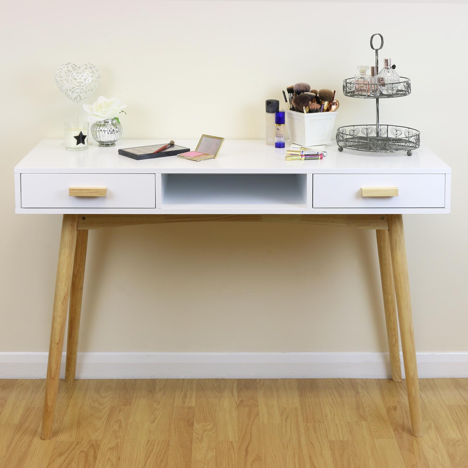 White Scandinavian Modern Bedroom Dressing Table Makeup