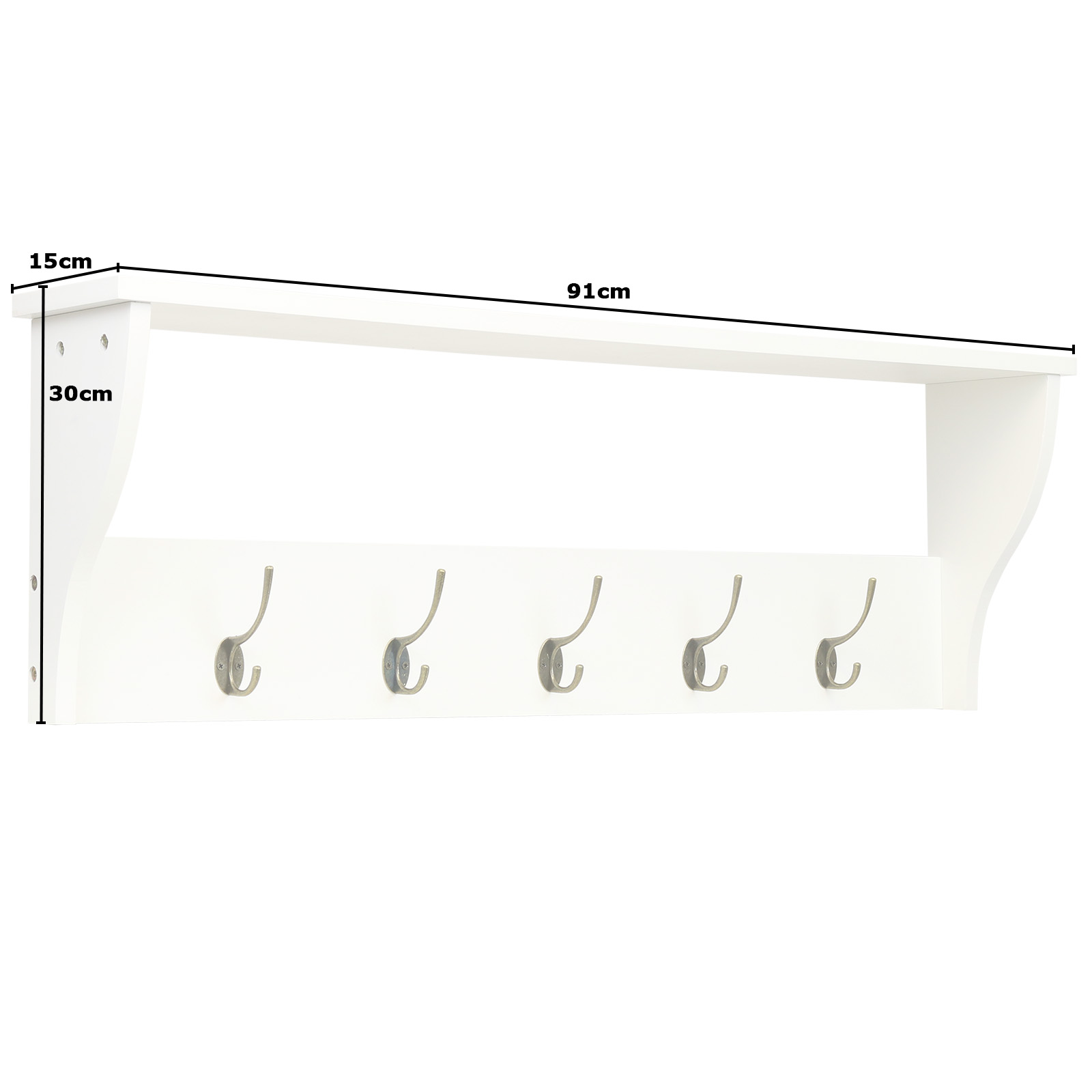 Hartleys White 5 Coat Hook Storage Shelf Hall Hallway Bag