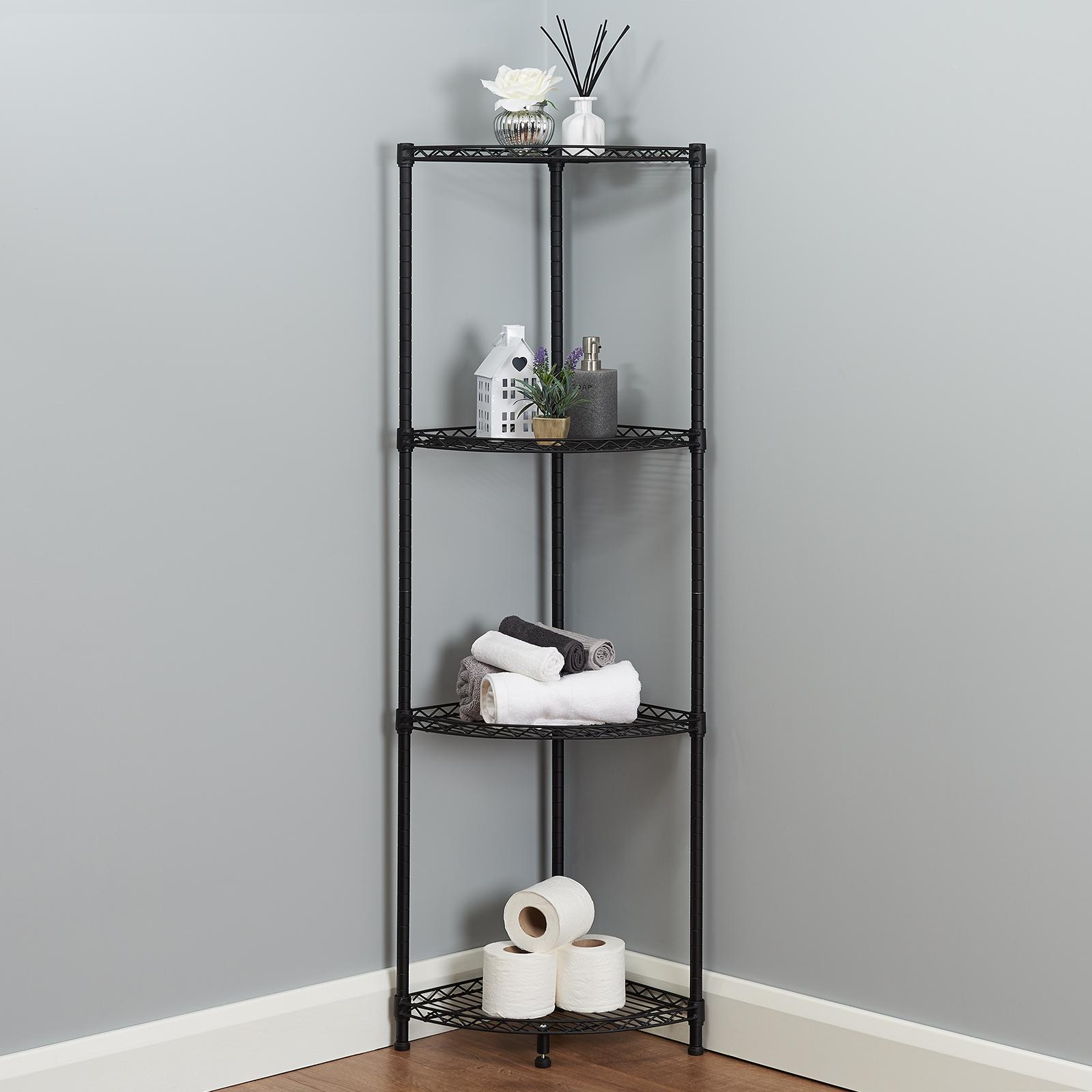 Details About 4 Tier Corner Bathroom Storage Shelves Metal Black Shelving Unit Display Rack