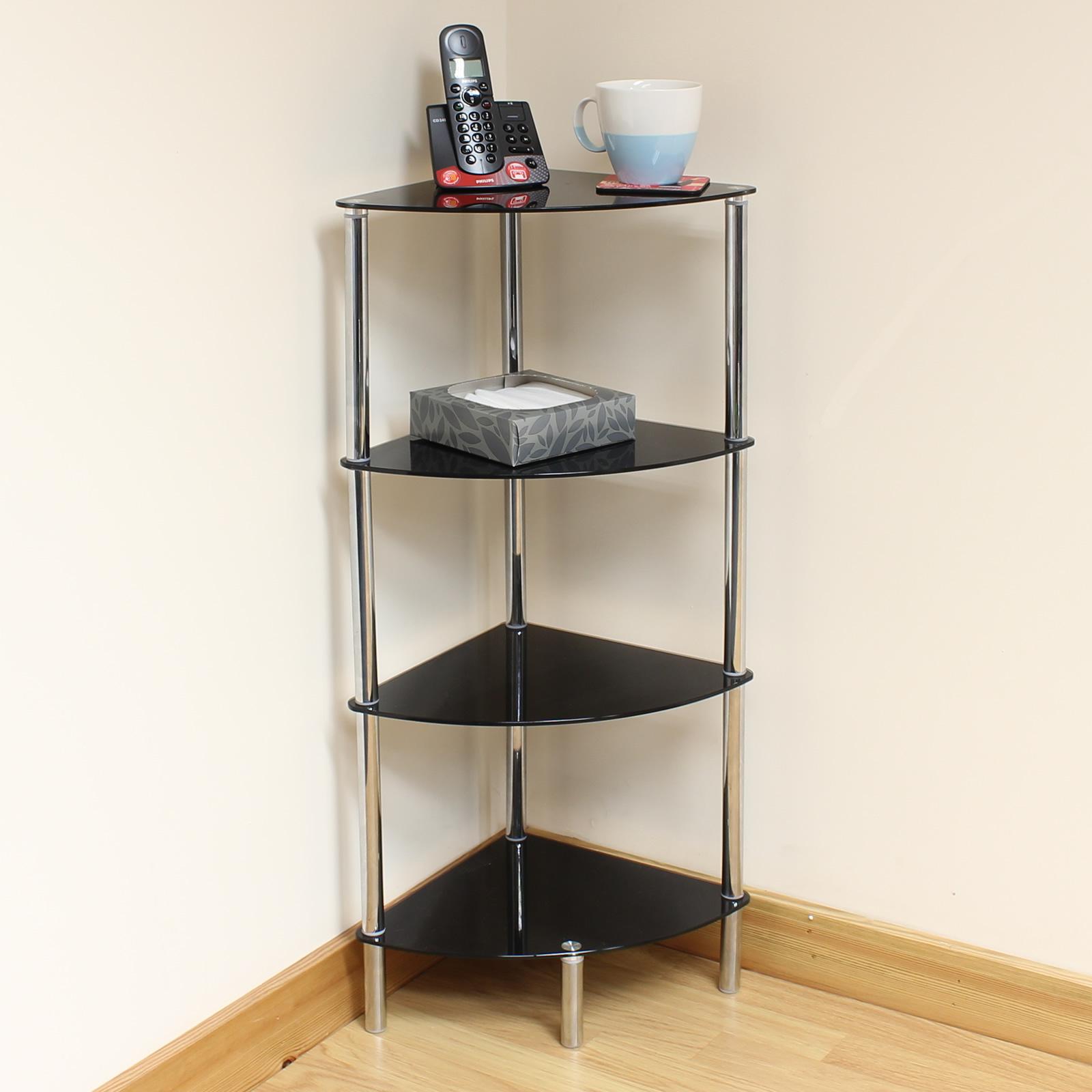 details about hartleys 4 tier black glass corner side end table shelf display unit lounge hall