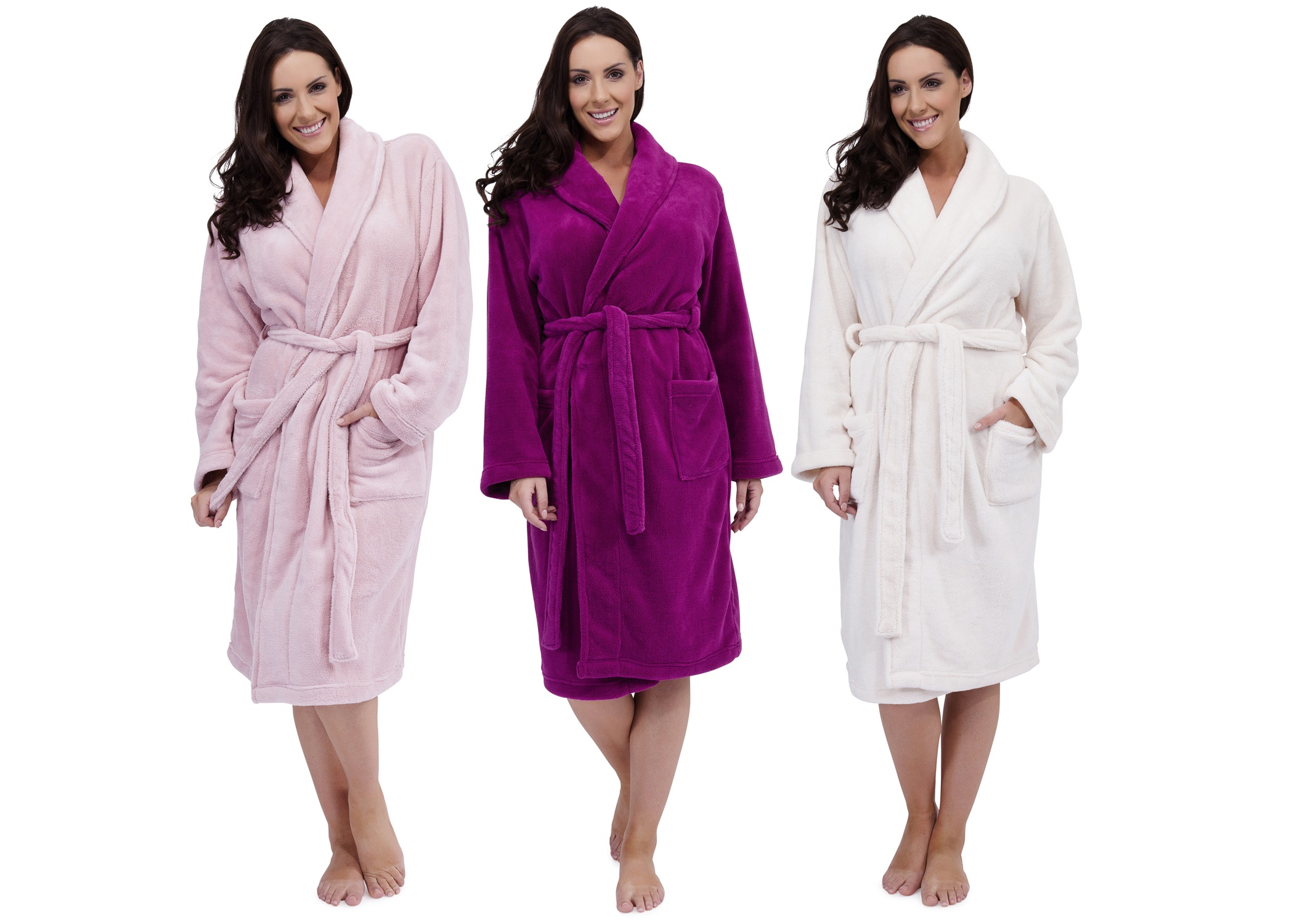 Ladies Long Luxury Coral Fleece Dressing Gowns Bath Robes