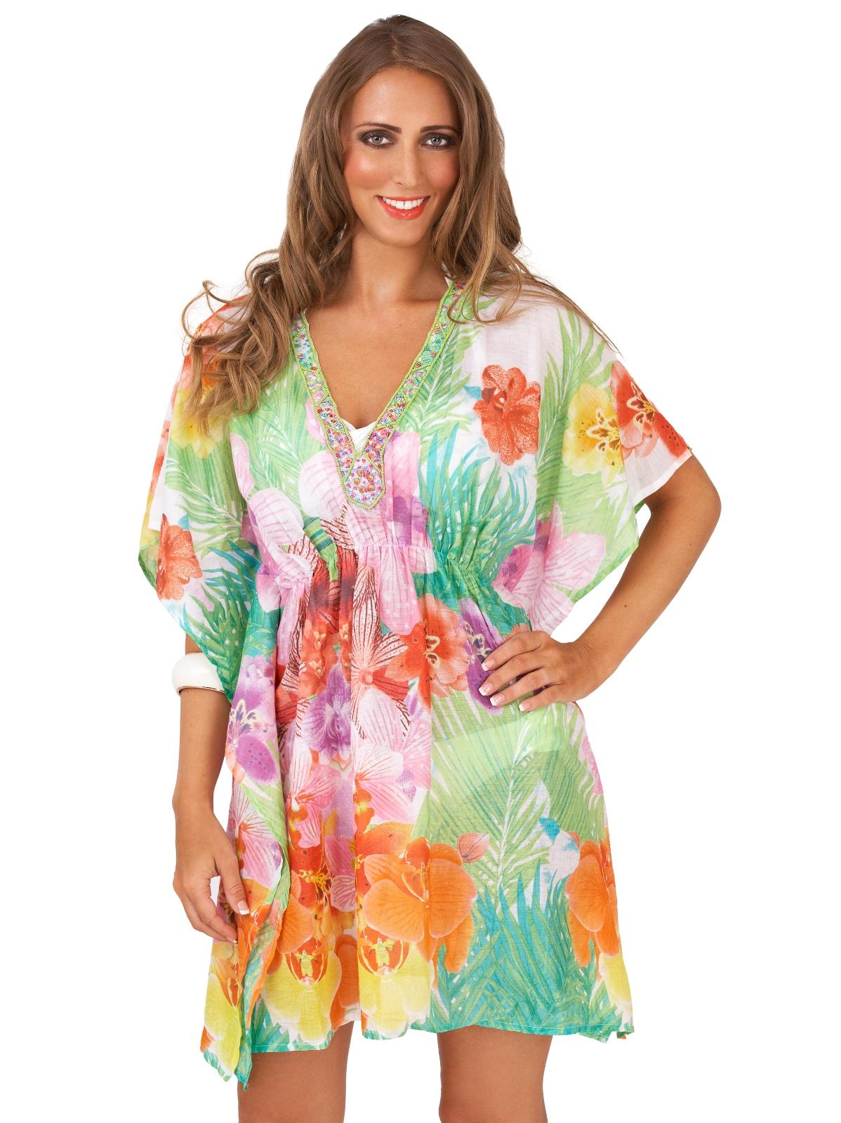 Womens Kaftan Sequin Summer Dress Top Cotton Beachwear