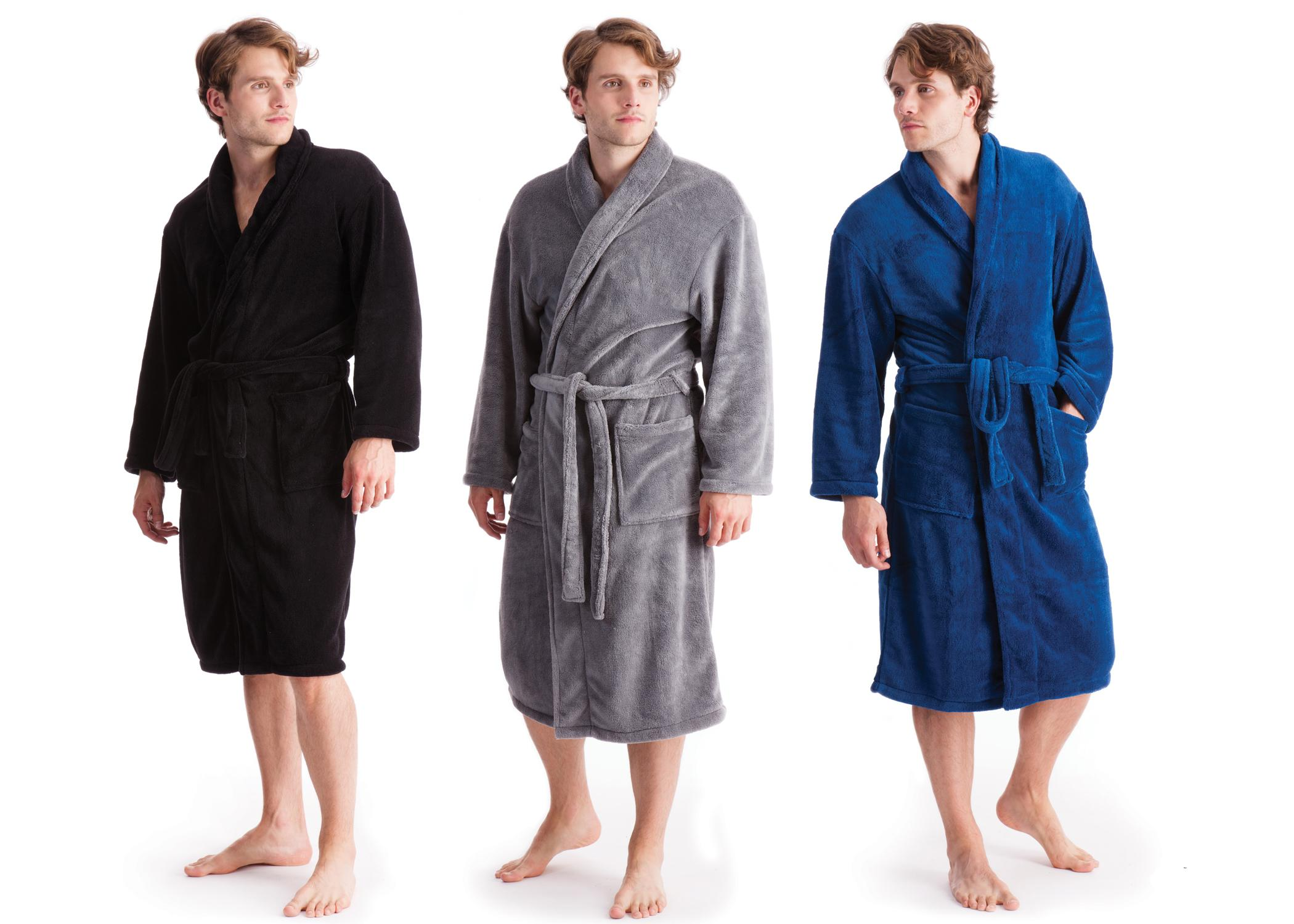 Mens Luxury Soft Fleece Bathrobe Dressing Gown Housecoat