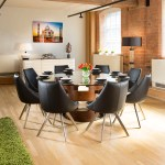 Large Round Glass Top Walnut Dining Table 8 Black Modern Chairs Ebay