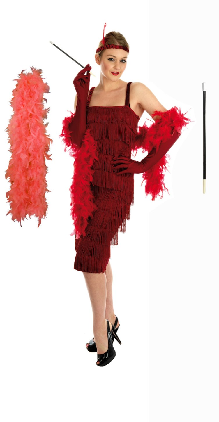 Ladies 1920s Flapper Costume Gloves Holder Boa Womens ...