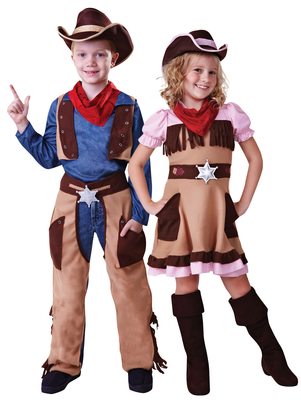 Kids Cowboy Cowgirl Boys Girls Fancy Dress Costume Wild