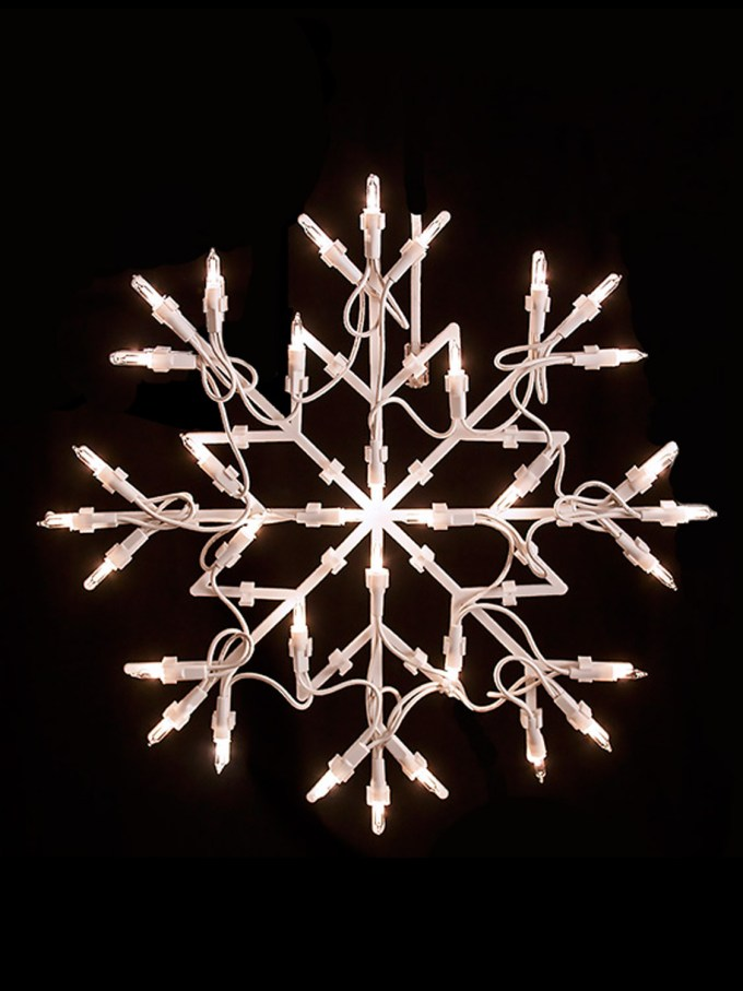 2 large white snowflake christmas window fairy light silhouette xmas
