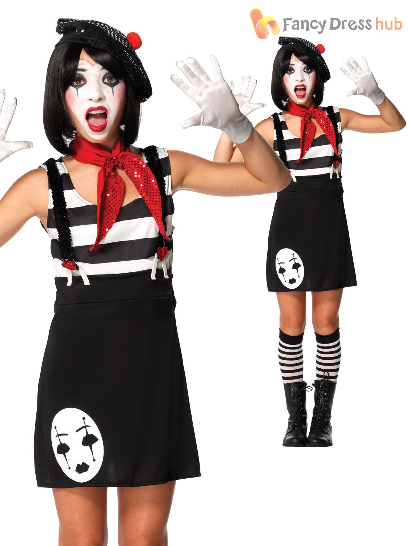 Girls Kids Mime Artist Costume Black White Halloween