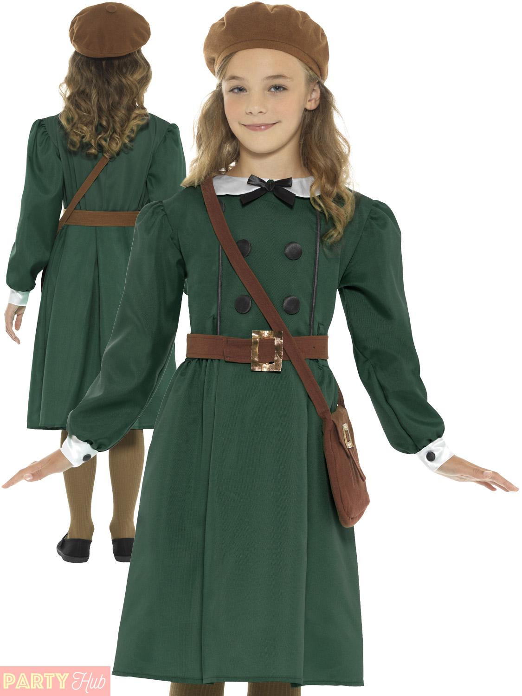 S Ww2 School Child Girl Boys Wartime Costume Kids