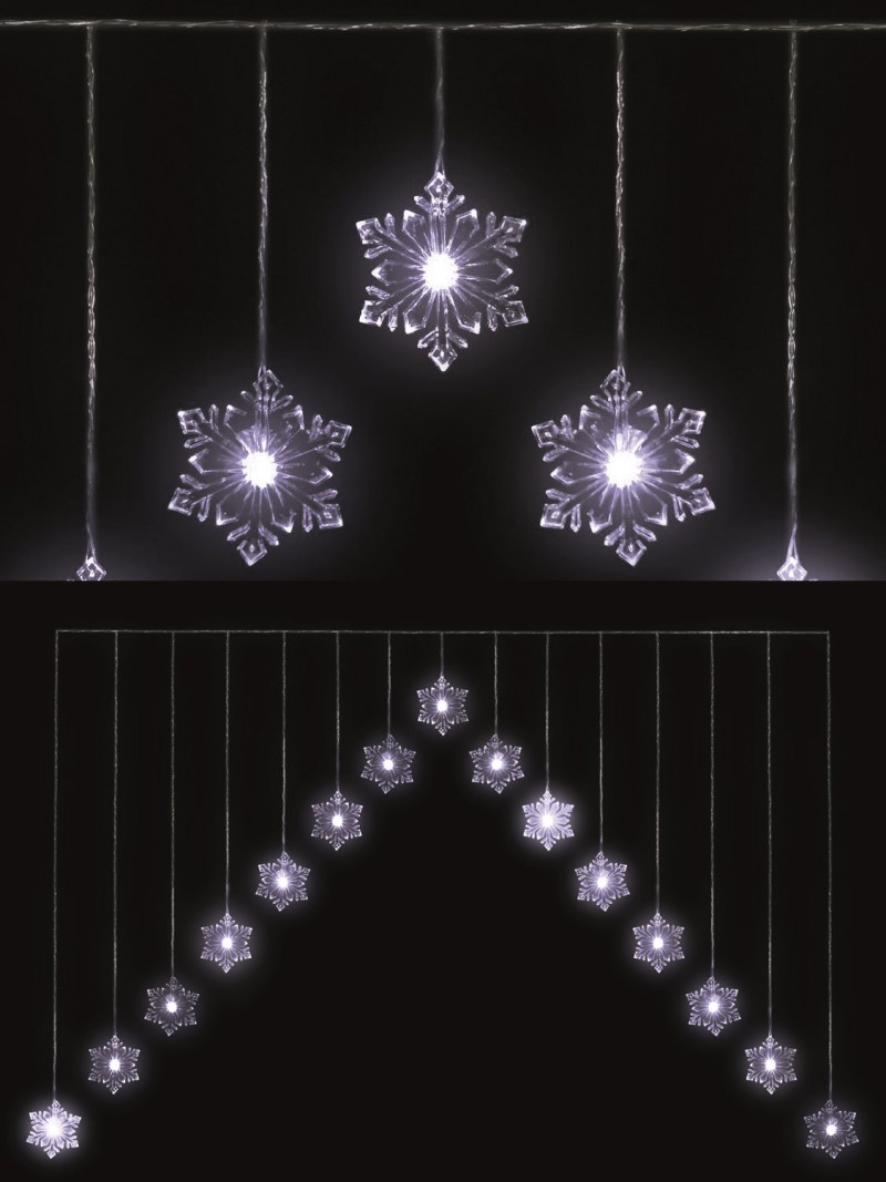 snowflake v curtain light 15 led christmas window decoration - Led Christmas Window Decorations