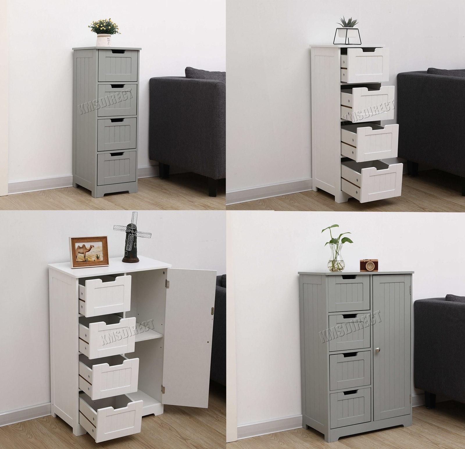 Westwood Bathroom Storage Cabinet Wooden 4 Drawer Cupboard Free Standing Unit Ebay