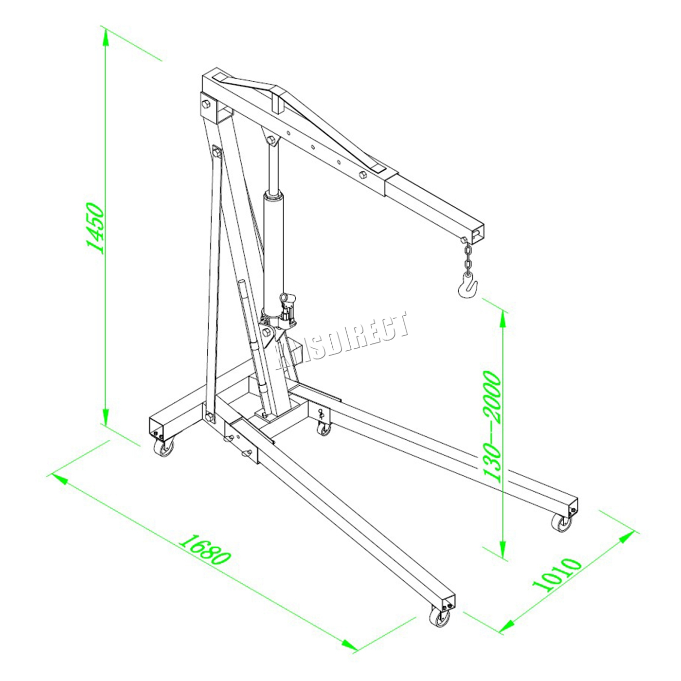 Foxhunter 2 Ton Hydraulic Folding Engine Crane Stand Hoist