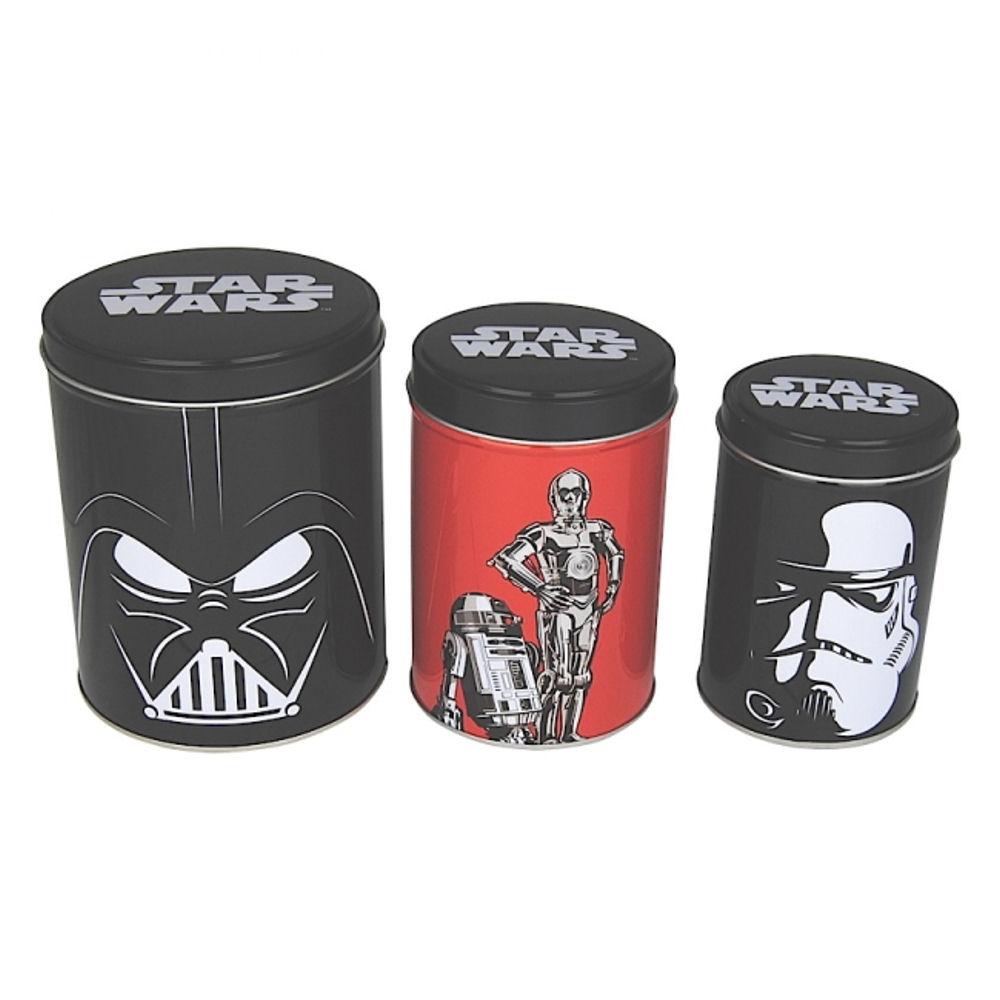 star wars set of canisters tea coffee sugar kitchen storage r2d2 vader c3po film