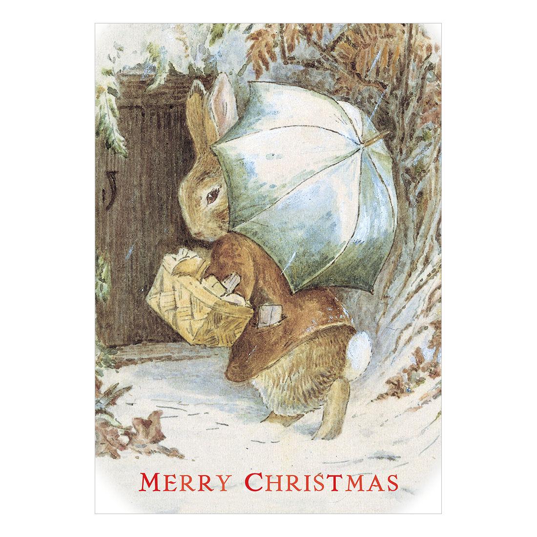 BENJAMIN BUNNY CHRISTMAS CARD RETRO VINTAGE BLANK GREETING