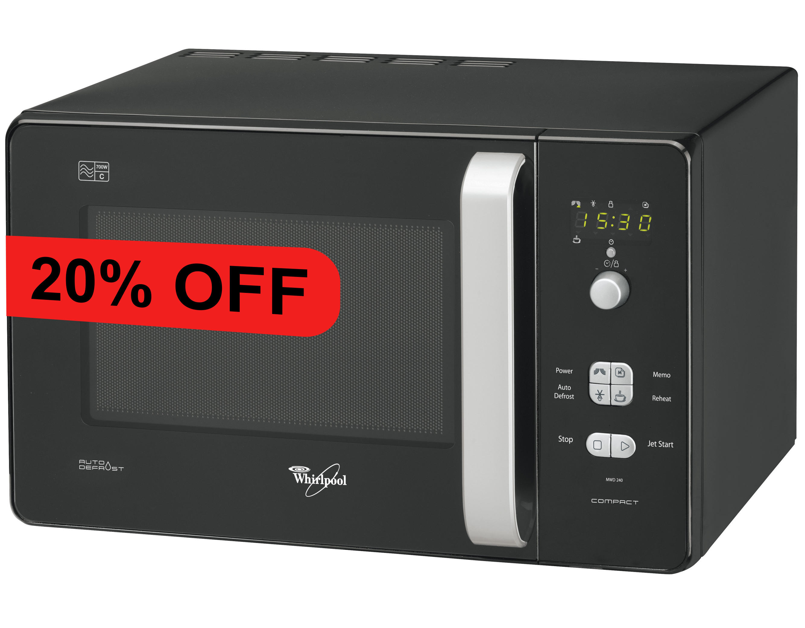 whirlpool mwd 240 microwave oven compact 20l 700 watts auto defrost on popscreen