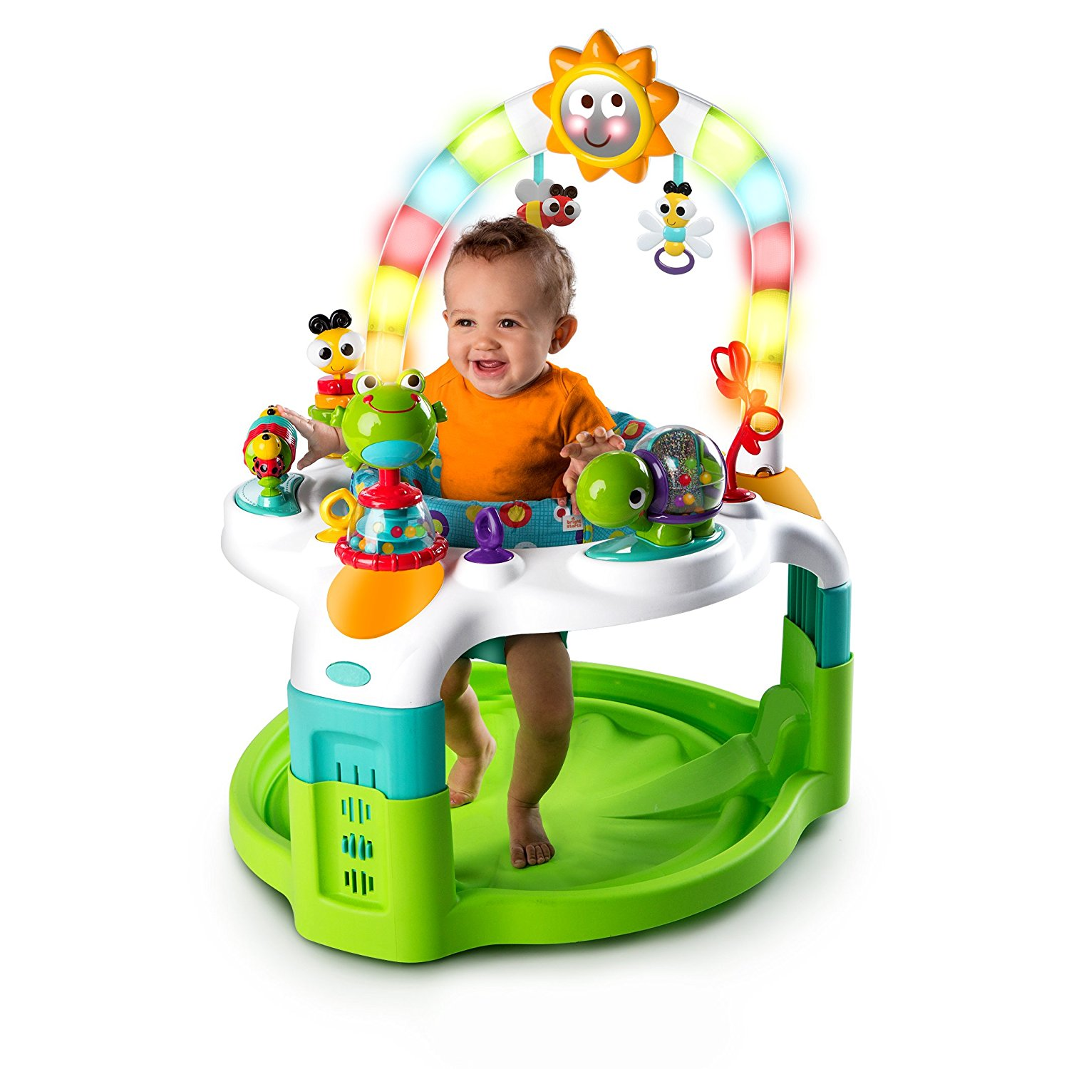 New Bright Starts 2 In 1 Lights N Learn Activity Gym And Saucer