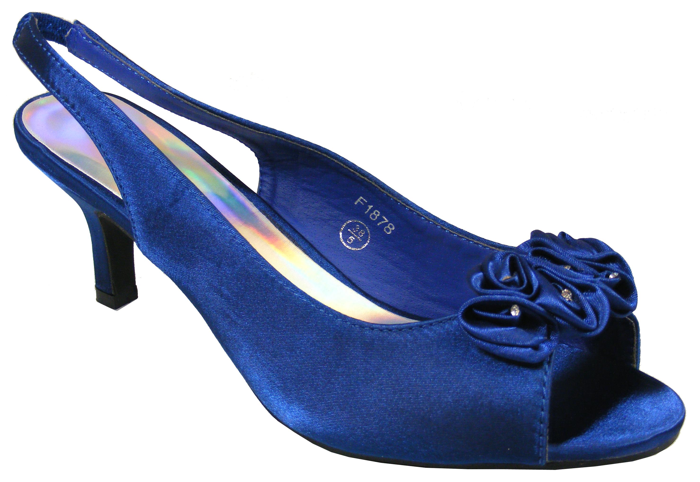 Womens Navy Blue Satin Low Heels Slingback Wedding Bridal Shoes