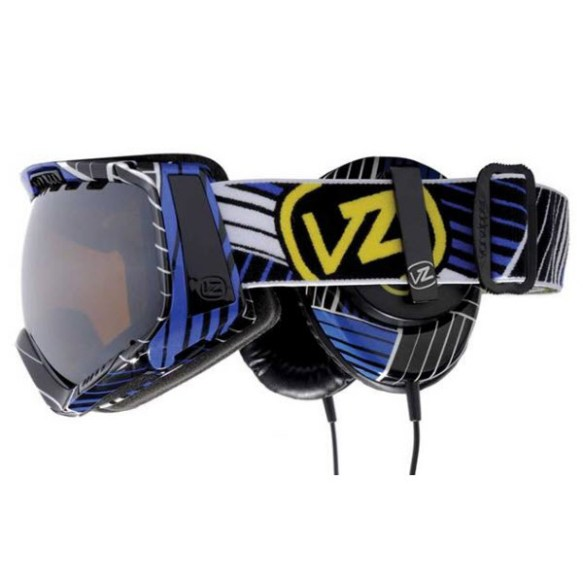 Von Zipper Feenom goggles 2010 Synchro Royal with Skull Candy Headphones