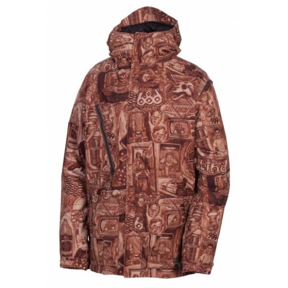 686 LTD Blind Anniversary Mens Snowboard Jacket Rust Large New Sample 2013