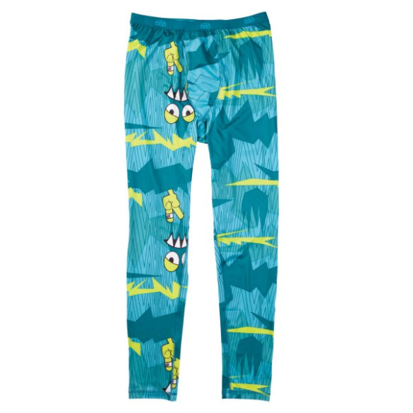 686 Mens Camotooth Base layer Thermal Pants Snowboard Ski Turquoise Large 2013