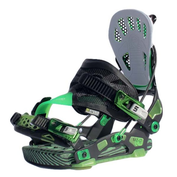 Flow NX2-GT Snowboard Bindings Jet in Black Green Size Medium