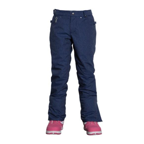 686 Authentic Meadow Girls Snowboard Pants Indigo Denim Kids Medium Sample 2015