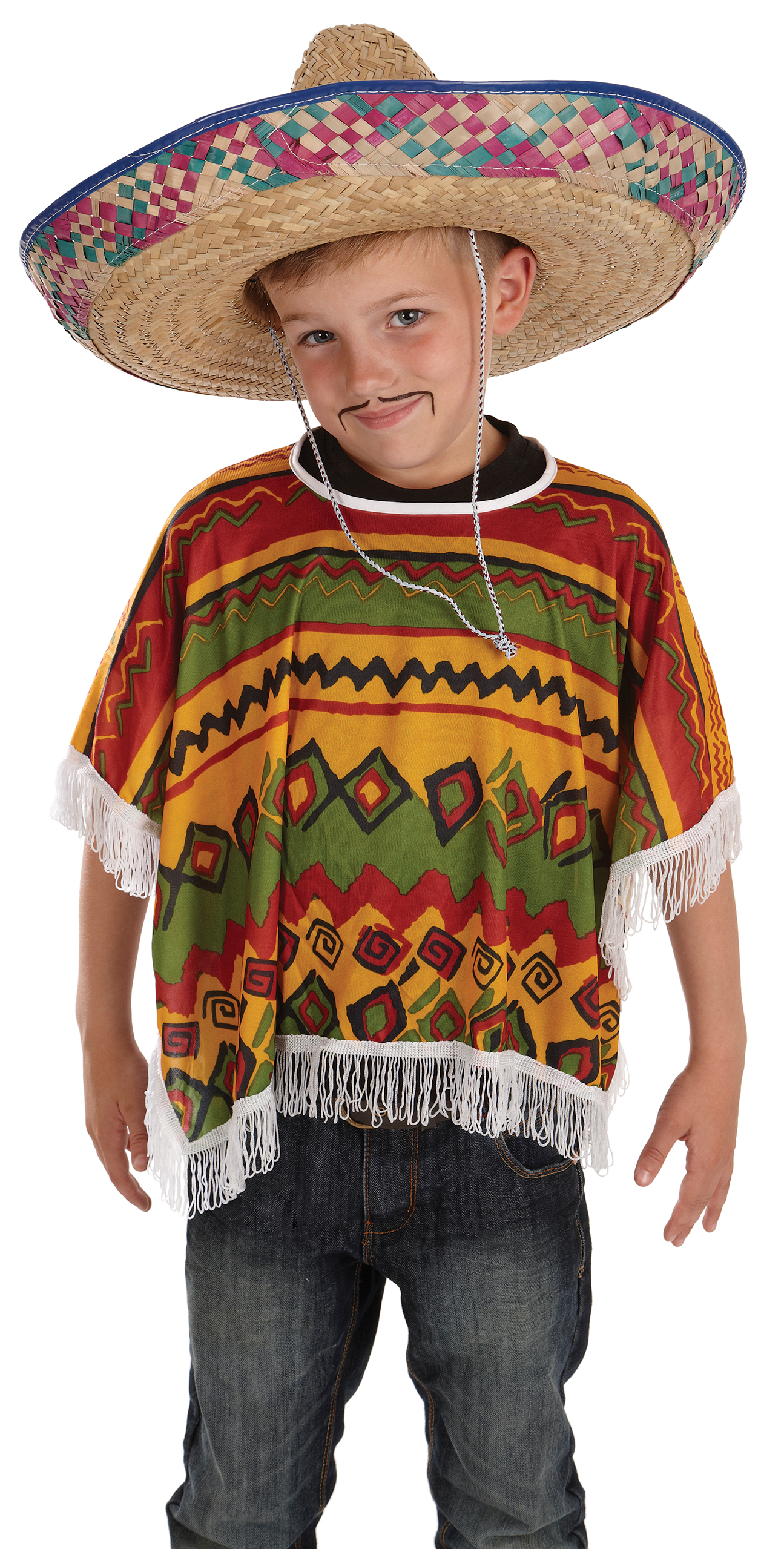 Boys Mexican Poncho Costume For Cowboy Wild West Fancy