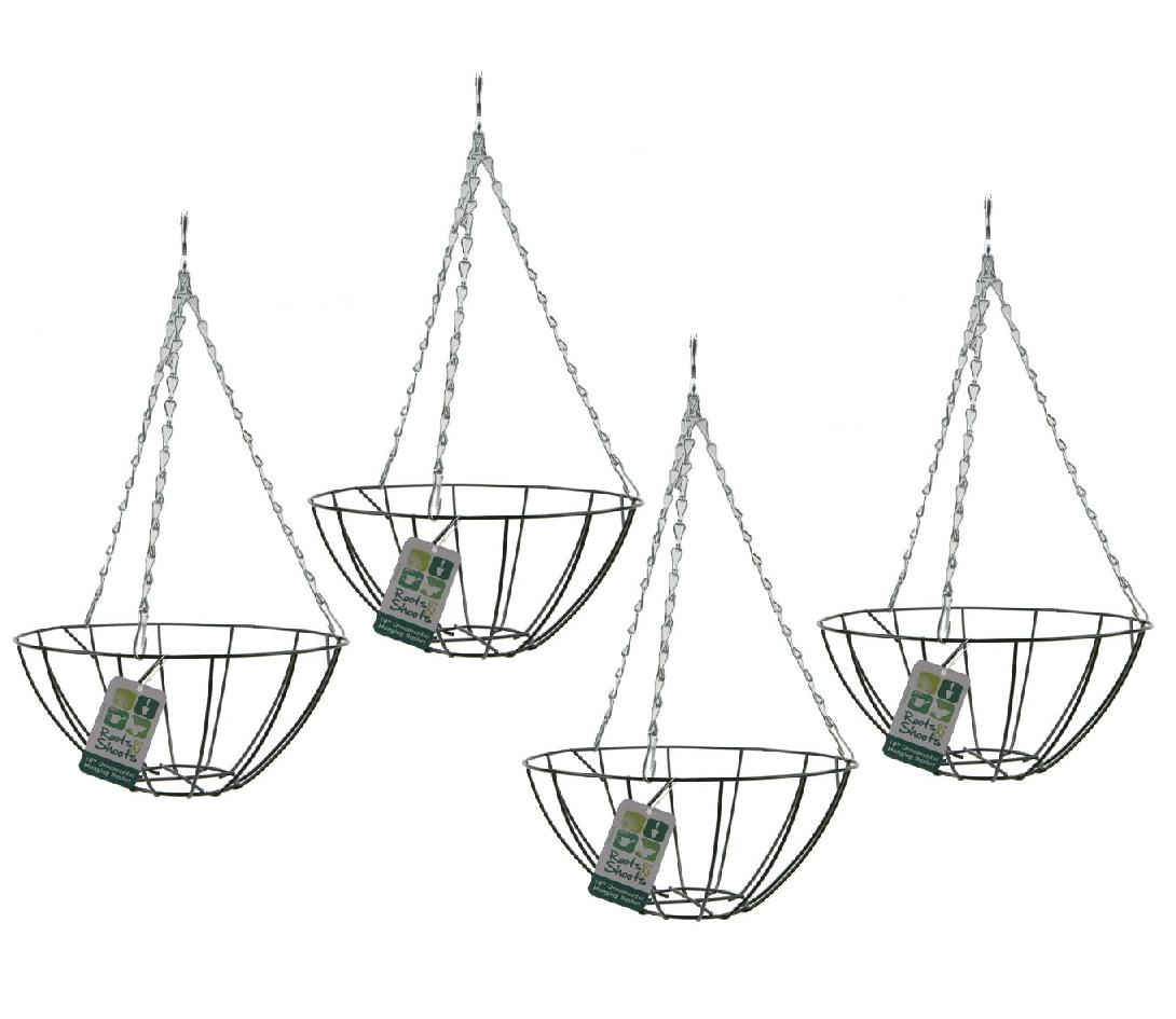 10 Round Green Metal And Wire Hanging Basket Round Bottom