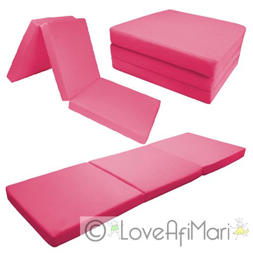 details about childrens kids folding guest z bed cube sleepover sleeping mattress futon uk