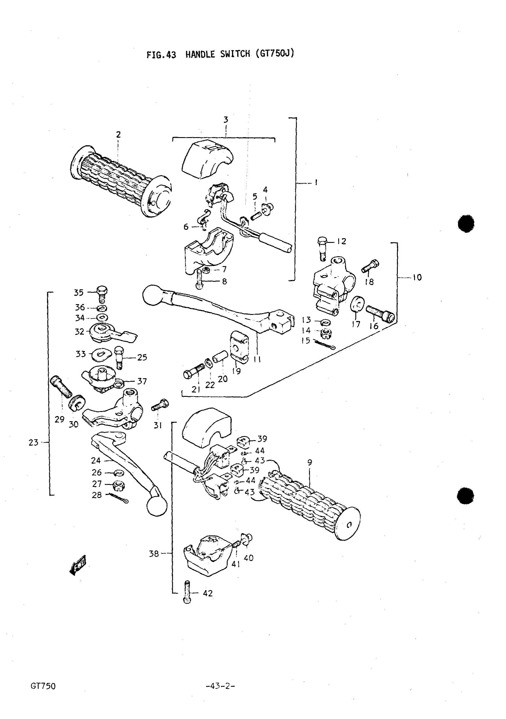 Genuine Suzuki Gt750 J Handle Switch Throttle Grip