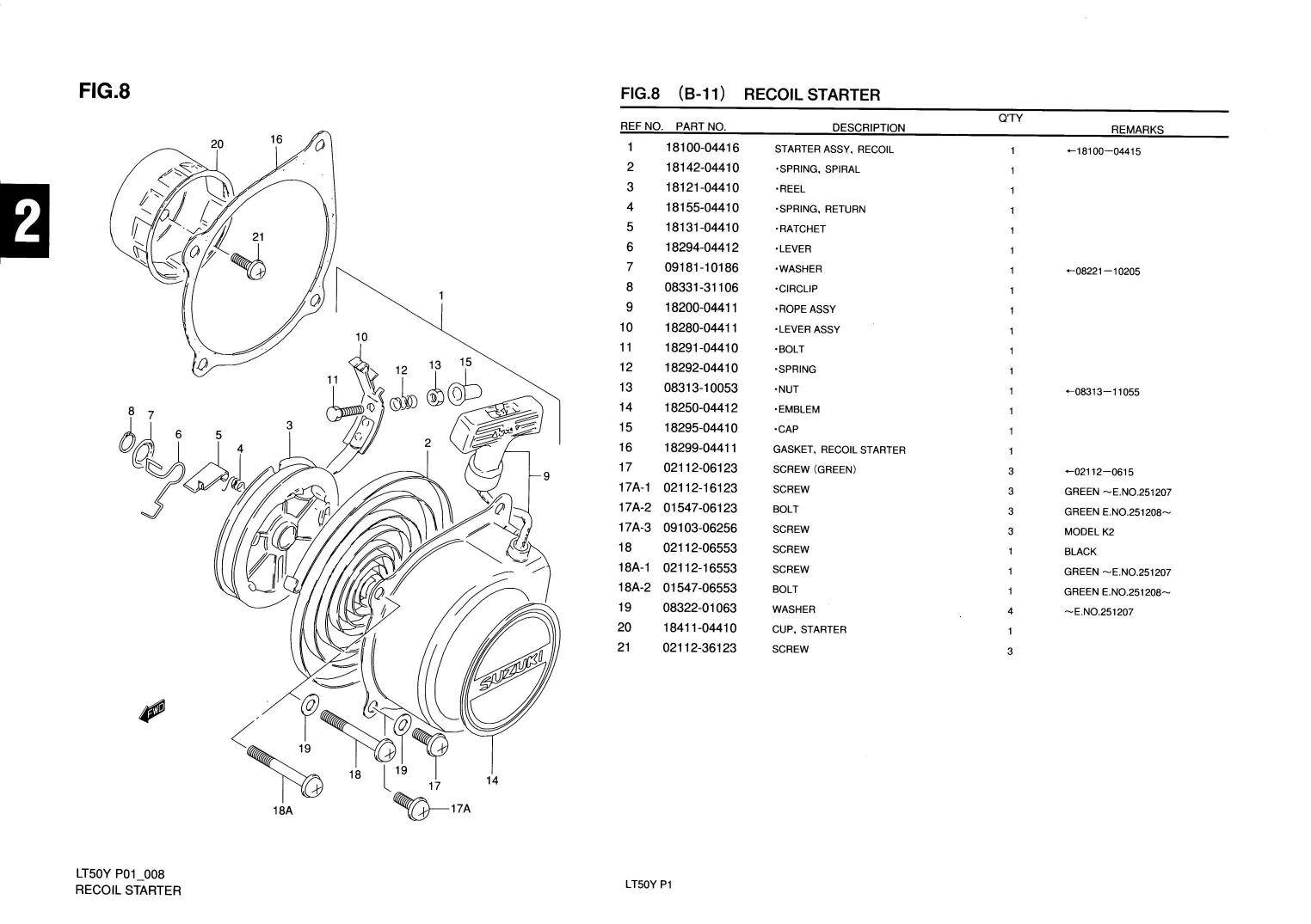 Genuine Suzuki Lt50 Mini Atv Quad Recoil Starter Spiral