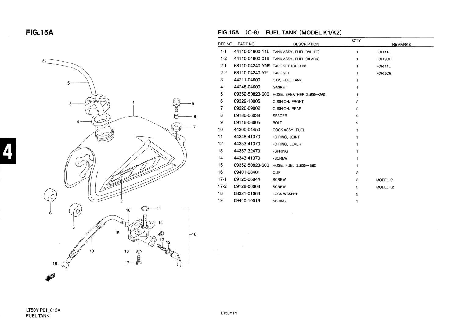 Genuine Suzuki Lt50 Model Ki K2 Atv Fuel Tank Fuel Tank