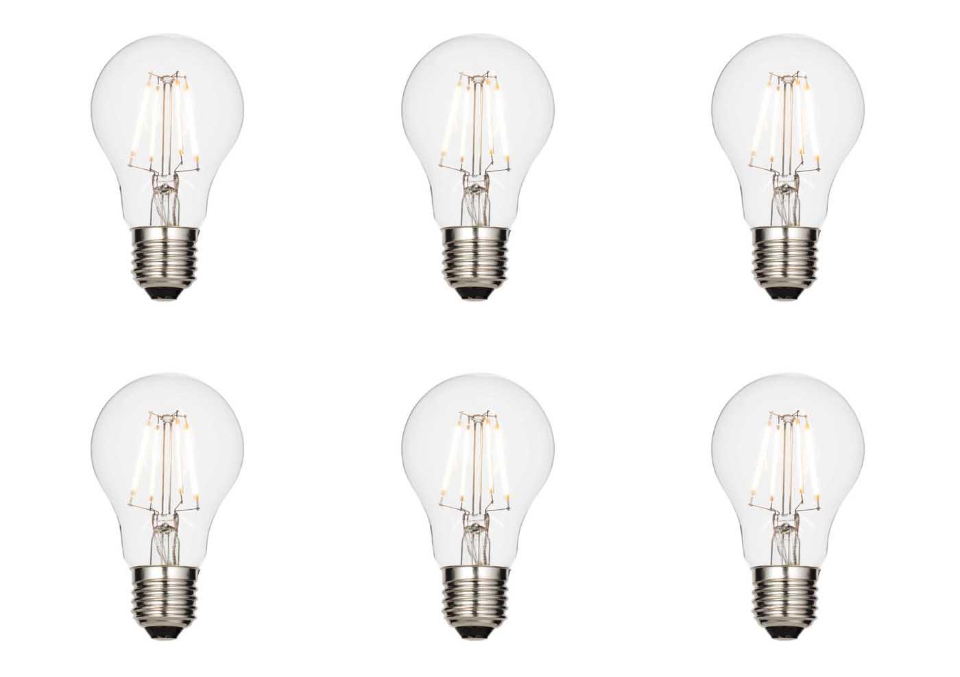 6 X Saxby E27 Led Light Bulb Filament Gls 4 3w Warm White