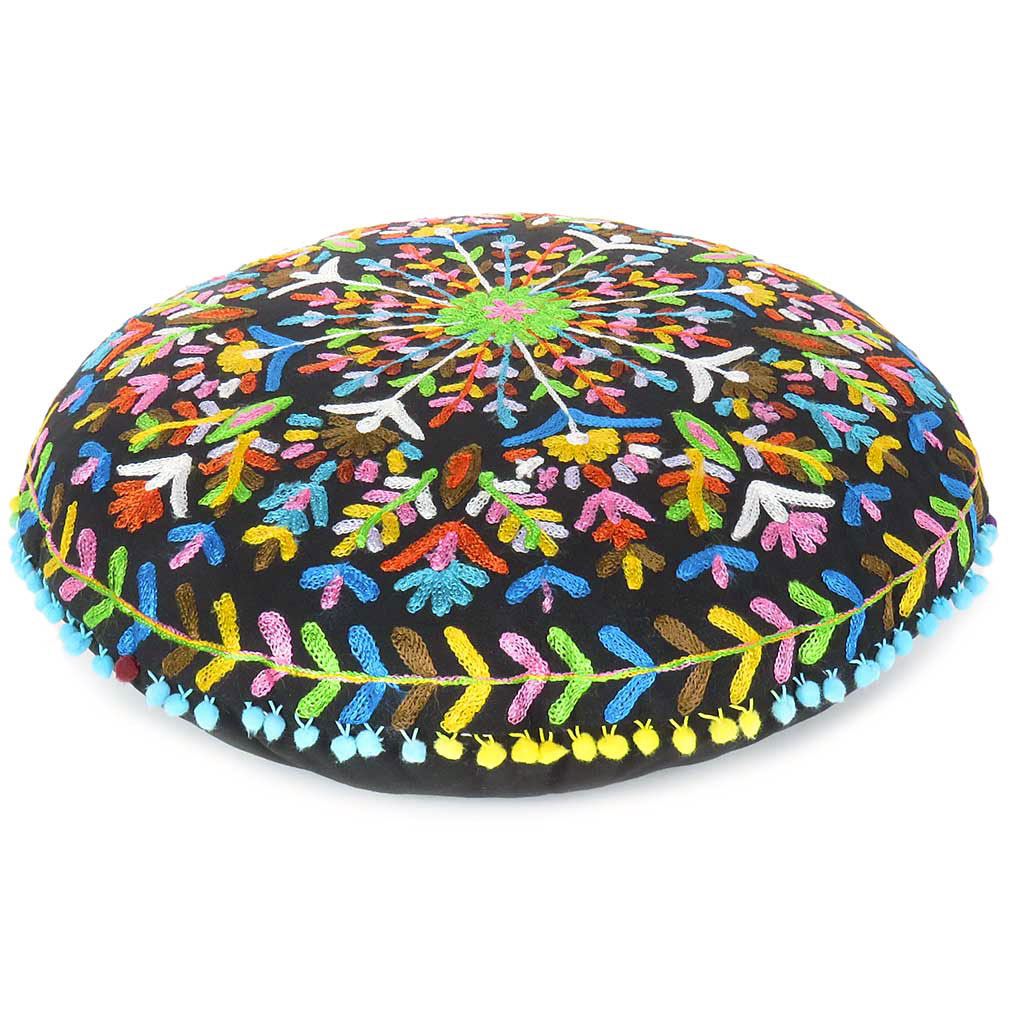 black embroidered floor cushion round floor cushion embroidered pillows eyes of india