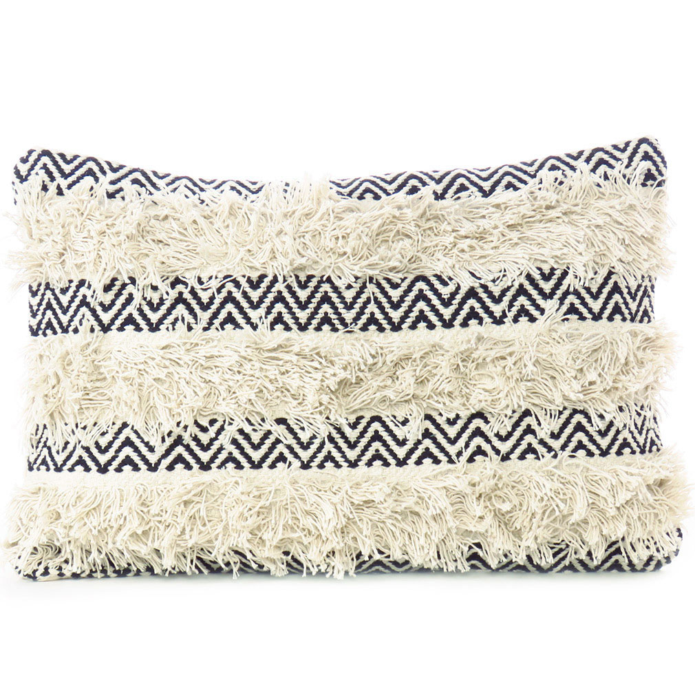 cream white black woven tufted colorful cushion pillow cover fringe sofa couch throw 16 x 24 tassel fringe pillows eyes of india