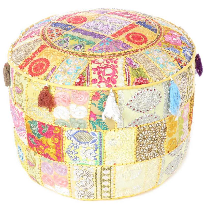 https www eyesofindia com yellow small round pouf patchwork floor seating bohemian accent decorative handmade pouffe ottoman cover html