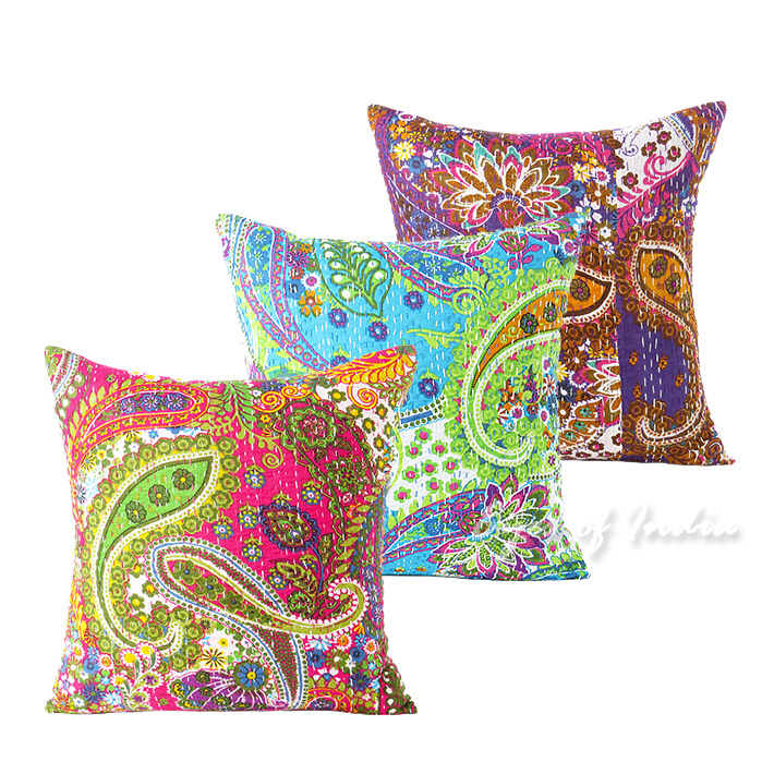 paisley cushion covers with kantha