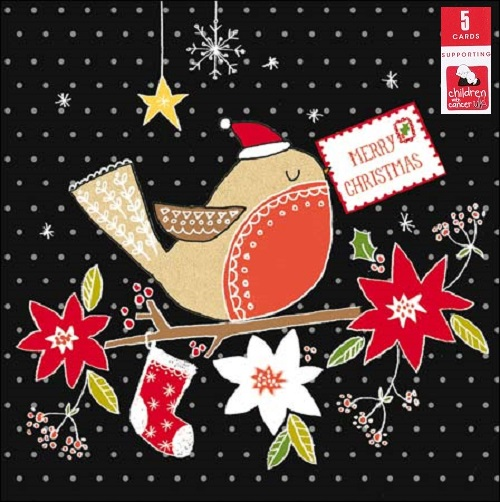 Pack Of 5 Red Robin Children With Cancer Charity Christmas