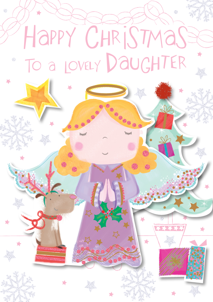 Lovely Daughter Happy Christmas Greeting Card Cards